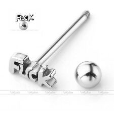 1pc 14G Stainless Steel Word Bar Barbell Tongue Ring Stud Body Piercing 5/8""