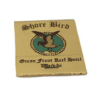 Vintage Shore Bird Beach Broiler Ocean Front Reef Hotel Waikiki Hawaii Matchbook