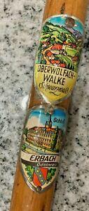 Vintage GERMAN Wanderstock WALKING CANE*  HIKING Stick* Metal Tip* Old Folk Art