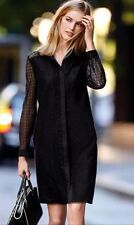 BNWT🌹Next🌹Size 12 Black Lace Collared Shirt Dress Evening Shift Day New