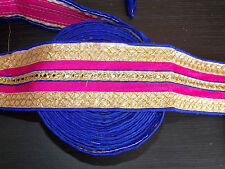 blue pink gold sequin ethnic embroidered ribbon applique motif trimming decor