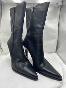 Naturalizer Black Leather Side Zip Ankle Boots Booties Sz 11