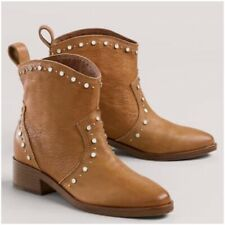 DOLCE VITA 7 Ankle Booties Studded Boots Leather Cognac Tan Tobin Western Brown