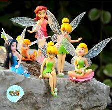 6pcs New Figurine FEE CLOCHETTE TINKER BELL Cake Toppers Dolls