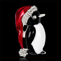 1pc Christmas Rhinestone Cute Christmas Penguin Brooch Pin Xmas Gift Party MWUK