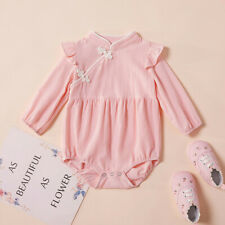 Infant Newborn Baby Girls Kimono Long Sleeve Romper Bodysuit Outfits Clothes bl