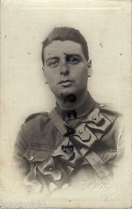 WW1 Soldier serving with unknown regiment mounted bandolier Bury photographer