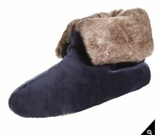 isotoner Signature Navy Blue Plush Velour Faux Fur Memory Foam Bootie Slipper