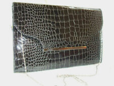 BLACK PATENT MOCK CROC LARGE OVERSIZED ENVELOPE CLUTCH BAG HANDBAG NEW