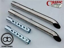 Universal slash cut extension exhausts pair for classic motorcyles