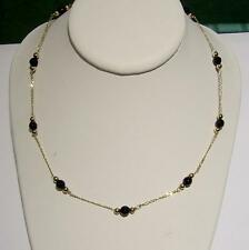 14k Gold Black Onyx w/Gold Bead Necklace-Free Ship!