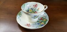 Vintage Aynsley Tea Cup and Saucer Floral Scenes, Soft Colors Gold Trim