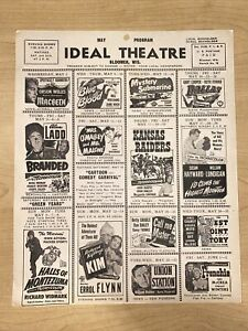 VINTAGE 1951 May Bloomer Wisconsin Ideal Theater Program McBeth Union Station