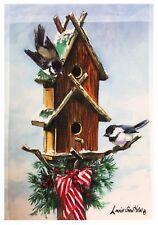 "Winter Robins &  Birdhouse Flag12""X18"" Designer Christmas Decorative Garden Flag"