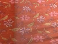 """Rust Multicolor Floral Crinkle Silk Chiffon Fabric 36"""" Width  Sold By The Yard"""