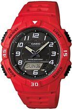CASIO MEN AQS800W-4BV SOLAR POWER RED RESIN BAND WATCH