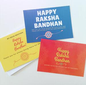 Raksha Bandhan Card - Rakhi Rakhri - 3 Designs - Brother Gift - Hindu Sikh Gift