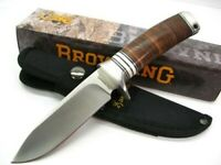 Browning 814 Stacked Leather Drop Point Hunter Fixed Hunting Knife + Sheath