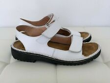 NEW! NAOT Size 42 11 - 12 White Black Brown Leather Sandals Shoes Flat Women's