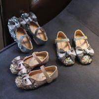 Children Kids Baby Girls Bowknot Crystal Bling Single Princess Dance Casual Shoe