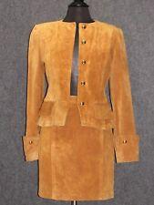 BALENCIAGA Paris Ligth Brown Suede Skirt Suit Jacket SZ 38