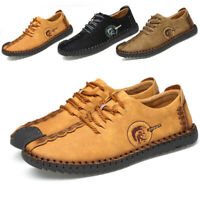 Mens Leather Retro Oxford Shoes Formal Flats Classic Lace up Dress Causal Shoes