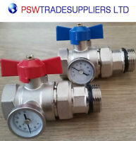 MANIFOLD BALL VALVE WITH THERMOMETER RED BLUE HANDLE-1''-UNDERFLOOR HEATING