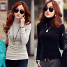 Hot Winter Korean Women Turtleneck Fleece Lined Solid Slim Warm Shirt Blouse Top