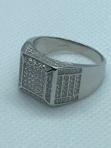 925 Sterling Silver Solid Half Band CZ Pinky Ring All Sizes Brand New