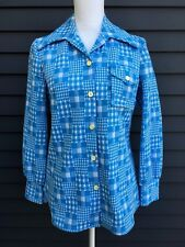 Vintage woman's polyester shirt jacket blazer fitted light blue plaid 1970s sz12
