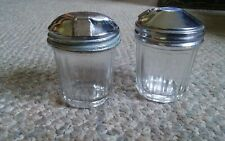 Set of 2 Vintage Mini Sugar Shakers Dispensers 3 Inch Tall Clear Glass Metal Top