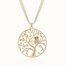 Popular Jewelry Gold Big Owl Tree of Life Crystal Pendant Necklace Sweater Chain