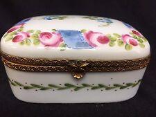 """limoges porcelain box hand painted 4 1/4"""" L x 3 1/2"""" W  x 2 1/4"""" H"""