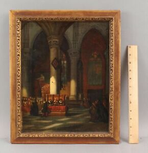 19thC Antique Signed Architectural 17thC Church Cathedral Interior Oil Painting