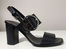 Tory Burch Thames Navy Blue Leather Sandal Heels Size 9 1/2