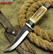 SFK CUTLERY CUSTOM HANDMADE HAMMERED D2 TOOL STEEL ART HUNTING SKINNER KNIFE