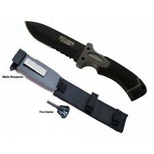 """11"""" Tactical Hunting Survival Knife w/ Fire Starter Sharpening Stone & Sheath -"""
