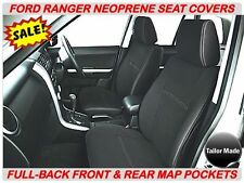 FORD RANGER  PX1  FULL-BACK FRONT & REAR NEOPRENE SEAT COVERS - MAP POCKETS X 2