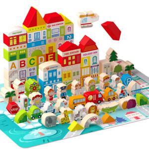 120pcs Wooden Wood Building Blocks Bricks Kids Children Construction Toy UK
