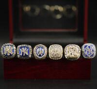 MLB New York Yankees 6pcs Championship Rings Display Set with Wooden Box