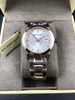 BURBERRY The City Two-Tone Women's Swiss Made Diamond Watch BU9127 $895 NEW!