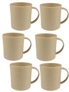 6 Set Eco Friendly BAMBOO Fibre Coffee Tea Mug Cup Reusable Natural Sustainable