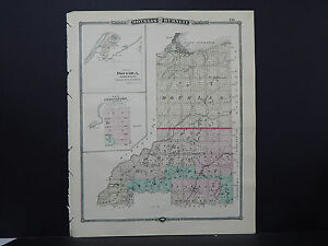 Wisconsin Map 1881 Double Sided Counties of Douglas & Ashfield L23#22