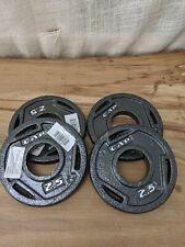 """x4 2.5 LB CAP 2"""" Olympic Hole Iron GRIP Weight Plates Pair Set of 4 10lbs Total"""