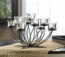 modern black iron candelabra Candle holder flower floral large table centerpiece