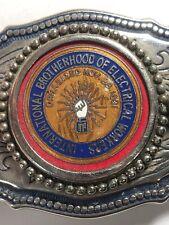 IBEW International Brotherhood Of Electrical Workers Silver Tone Belt Buckle