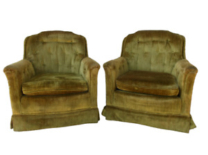 Mustard Yellow Vintage Comfy Club Living Room Chair Armchair Set Lot 2 w/ Wear