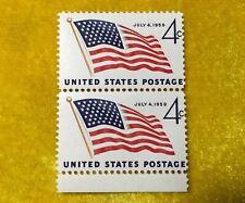 NANEE-B) US # 1132 49 STAR FLAG STAMP 1959 PAIR MINT OGNH M-7