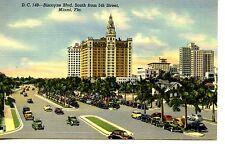 Biscayne Boulevard South-Street Scene-Miami Beach-Florida-1947 Vintage Postcard