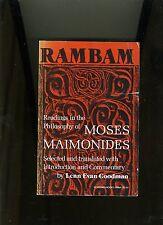 JUDAISM. RAMBAM, PHILOSOPHY OF MOSES MAIMONIDES. LENN EVAN GOODMAN-1977, 1ST. VG